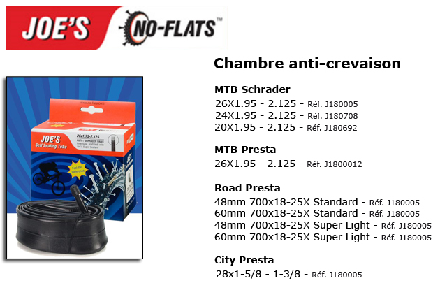 Joe 39 s no flats chambres air anti crevaison for Chambre a air velo anti crevaison